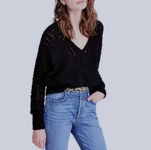 Free People Best of You V-Neck Open Knit Sweater
